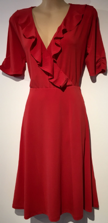 OASIS RED FRILL WRAP TEA DRESS SIZES BNWT UK 8-14
